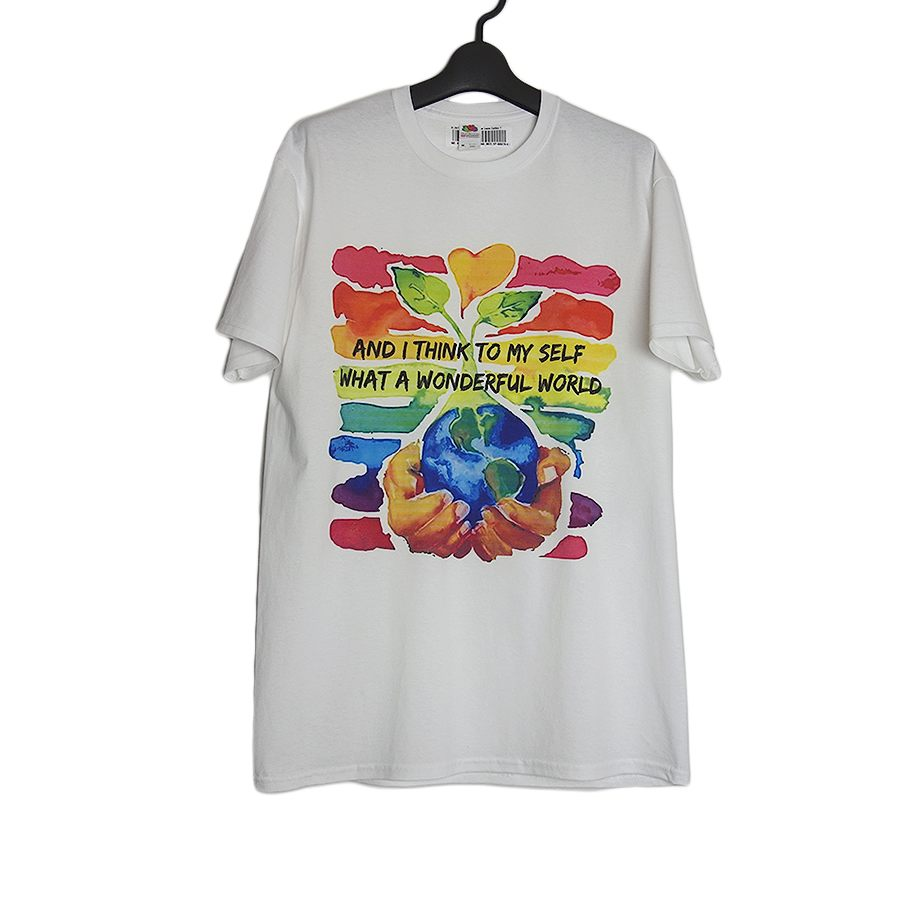WHAT A WONDERFUL WORLD Tシャツ 新品 FRUIT OF THE LOOM 白