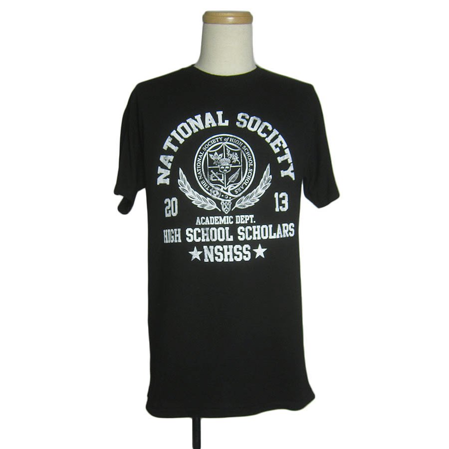 プリントTシャツ 黒 National Society of High School Scholar